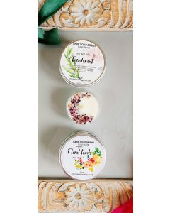 100% Natural Deodorant, Floral Butter Cream and floral Tea Candle